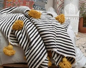 Black White wool striped throw moroccan pompom blanket