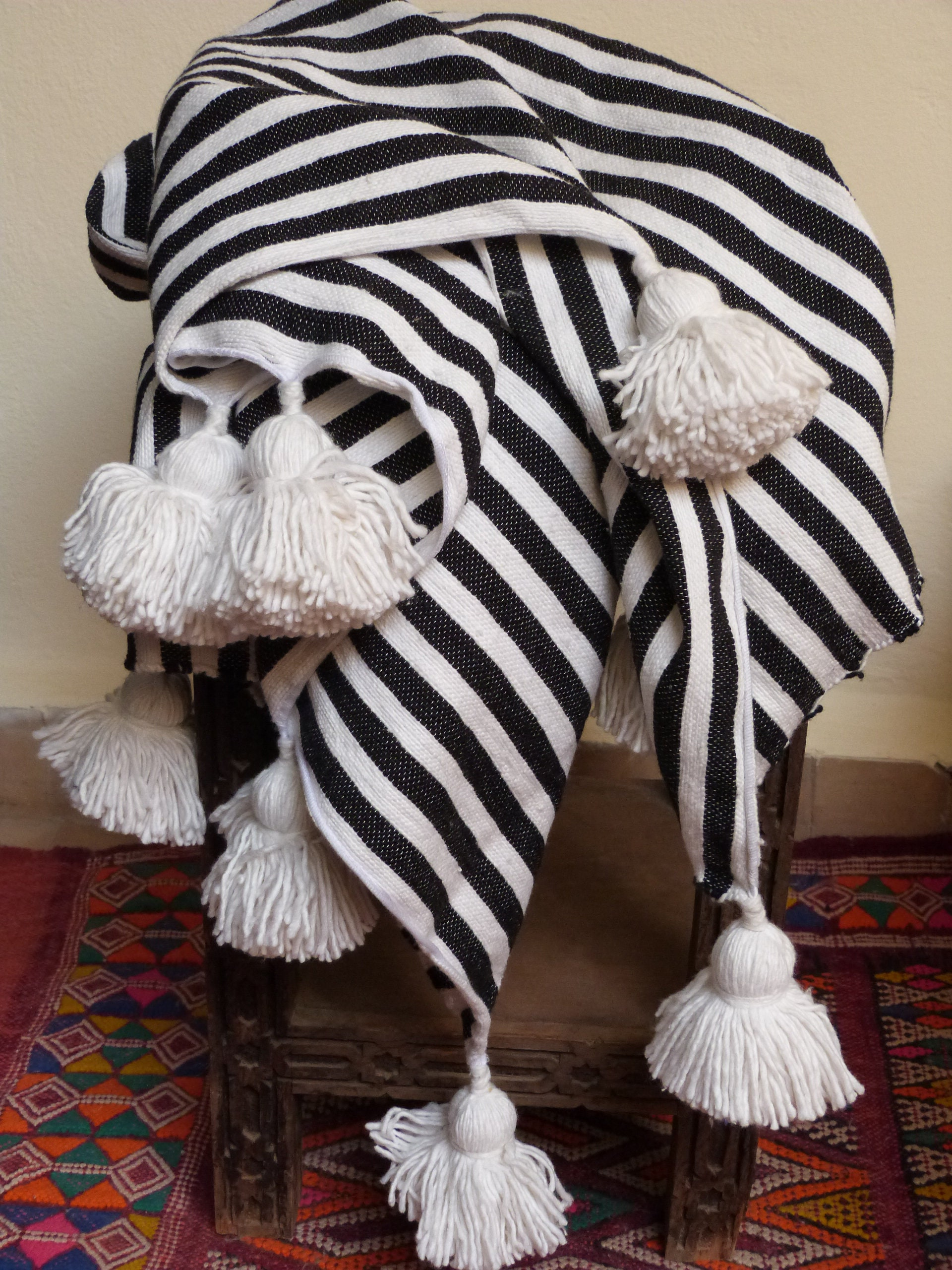 Home Décor Home & Garden 100% Cotton Morocco Throw ~ Black And White Stripe With Tassel ~ Handwoven