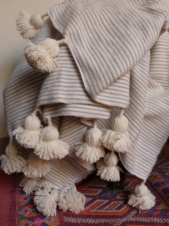 Moroccan Pom Pom Blankets With Tassels Throw Blankets