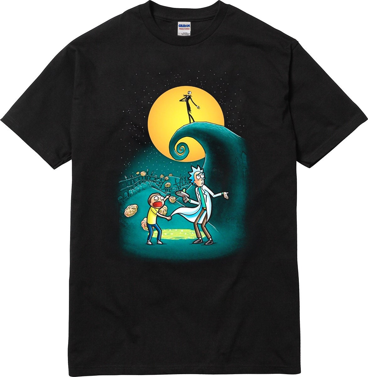 Rick and Morty Portal Nightmare Before Christmas T-Shirt | Etsy
