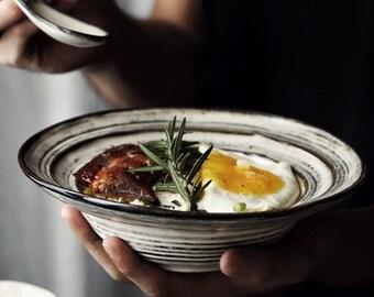 Mr. Grey Soup Bowl, Ceramic Bowl, Salad Bowl, Cereal Bowl, Pasta Bowl, Stoneware, Crockery Set, Japanese Style, Vintage Design