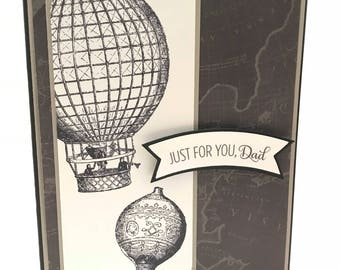 Father's Day Card BW with hot air balloons