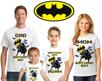 Personalized Batman Birthday Shirt Family Themed Matching Shirts Dark Knight Rises