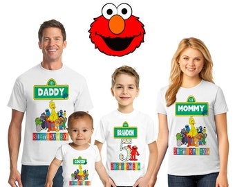 Personalized Sesame Street Themed Birthday T Shirt Custom Elmo