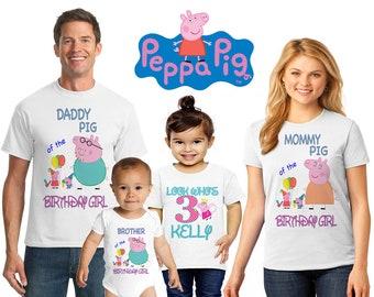 85cdb9345c51a Peppa Pig Birthday, Personalized Peppa Pig Tee Shirt, Peppa Pig Family  Birthday, Daddy Pig, Mummy Pig, Peppa Pig Family Shirt