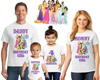 Personalized Disney Princess Family T Shirt Birthday Girl BirthdayDisney Party