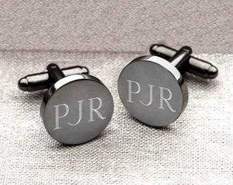 Personalized Gunmetal Round Cufflinks, Engraved Personalized Cufflinks, Monogrammed Cufflinks, Engraved Cufflinks [GC1331]