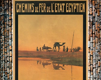 Chemins Camels, Vintage Egyptian Travel Ad, Egypt Travel Art, Vintage Ad,  Vintage Art Giclee Art Print, Fine Art Reproduction