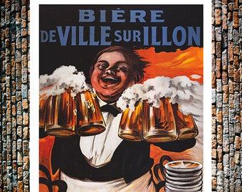 BiereDeVille Surillon Vintage Beer Ad, Vintage Bartender Ad,  Liquor Ad, Vintage Art, Giclee Art Print, fine Art Reproduction