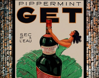 Get Peppermint WITH BORDER Vintage Liquor Ad, Liquor Ad,Vintage Art, Giclee Art Print, Fine Art Reproduction