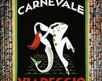 Carnevale Viareggio Vintage 1927 Ad, Vintage Mermaid Print, Vintage Dance Ad, Vintage Art,  Giclee Art Print, fine Art Reproduction