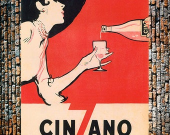 Cinzano Black and Red Vintage Liquor Ad, Liquor Art,Cinzano Wine Ad, Vintage Wine Ad,  Vintage Art , Giclee Art Print, Fine Art Reproduction