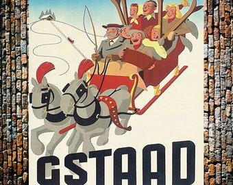 Gstaad Sled Ski Sport Vintage Ad, Vintage Travel Ad, Skiing Ad, Vintage Ad,  Vintage Art, Giclee Art Print, fine Art Reproduction