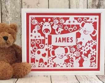 Framed, personalised animals paper cut