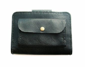 Leather passport wallet with purse. Leather passport cover. Black leather travel wallet. Leather passport holder. Passport wallet