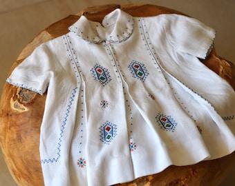 Vintage Cross Stitch Embroidered Folk Dress