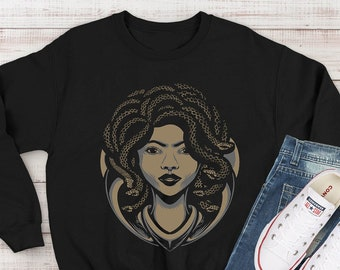 Medusa Sweatshirt - African Serpent Goddess - Snake Hair - Locs - Mythology - Halloween