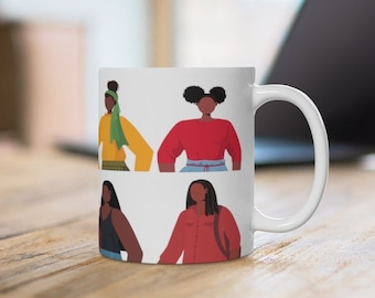 Brown Girls Together Mug - African American - Black Women - Afro Natural Hair - Headwraps - Black Girl Art