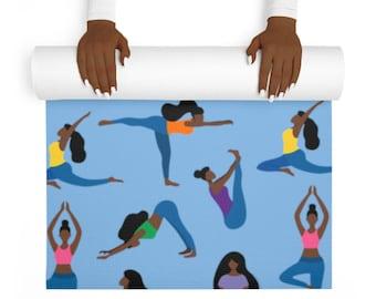 Yoga Poses Yoga Mat - Black Women Yoga - Black Yogi - Brown Girl Art - Yoga Accessories - Gift for Yogi