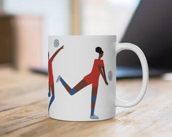 Volleyball Girls Mug - African American - Sports Girl - Spike Hit - Serve - Black Women Art - Gift for Coach