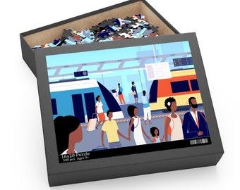 Train Station Puzzle - Black Travel - Family Goals - Jigsaw Puzzle - Transportation - Tourism