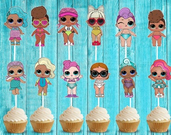 LOL SWIM SEASON Surprise Dolls Cupcake Toppers, Die Cuts, Birthday Party Cupcake Toppers