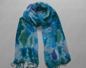 "TIE DYE **SCARF** ~ 20"" x 70"" ** ~* 100% cotton* **Fringed Edges"