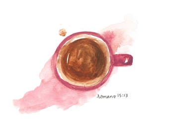 Coffee with Kayla - Watercolor Print Digital Download