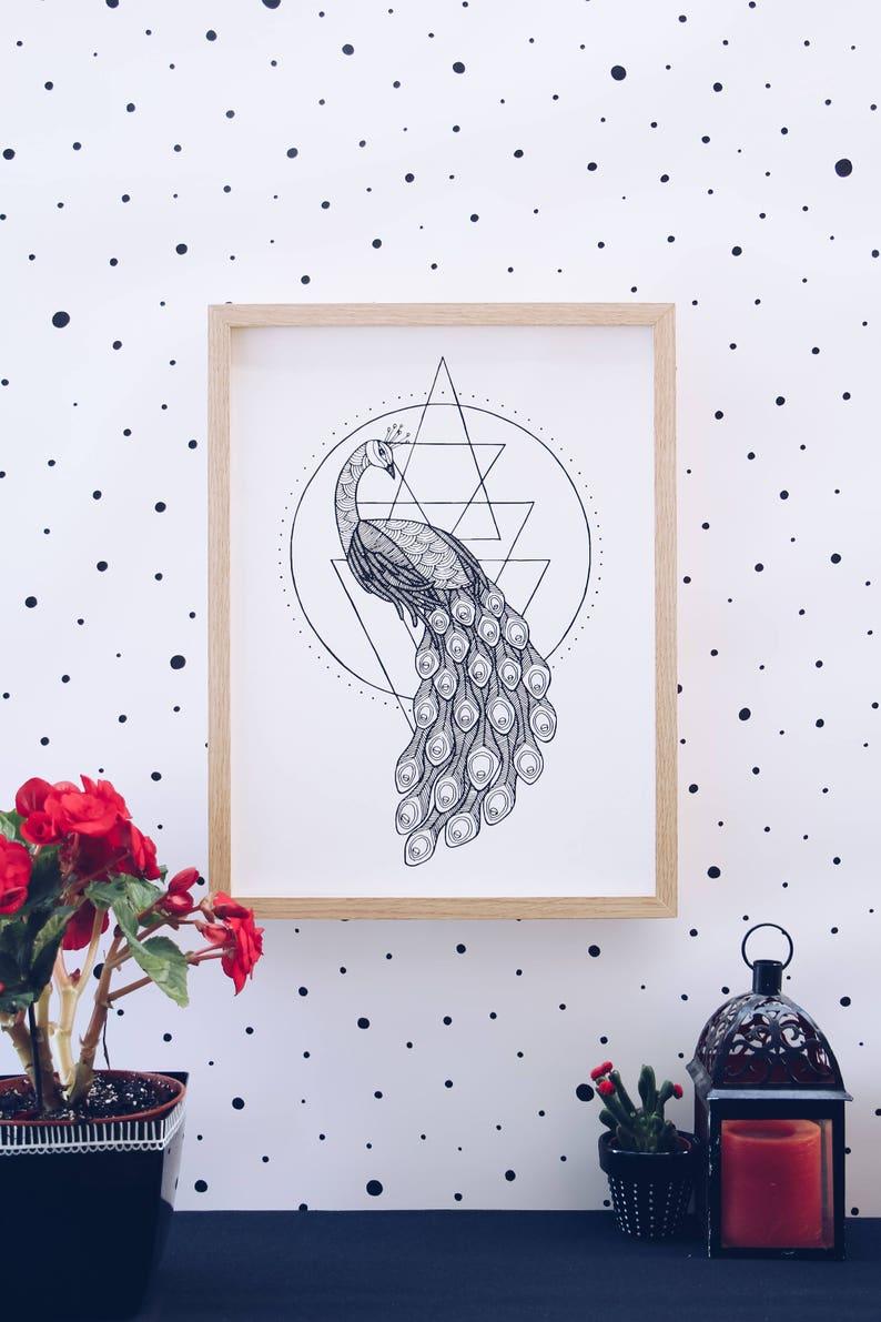 The peacock print animal geometry wall art illustration