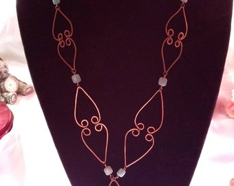 Moroccan Fayre - Blue Aventurine and Copper Statement Necklace and Earrings