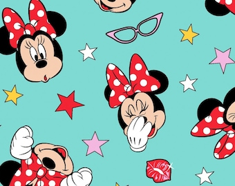 Disney Minnie Mouse Being Silly  Quilt Cotton Fabric By The Yard / By The Half Yard