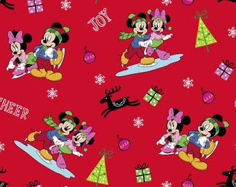 disney mickey minnie mouse and friend holiday cheer joy christmas tree deer red cotton fabric - Disney Christmas Fabric