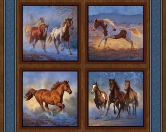 724f8b51e402 Run Wild Run Horse Blue Mist Pillow Panel Quilt Cotton Fabric By The Yard    By The Panel