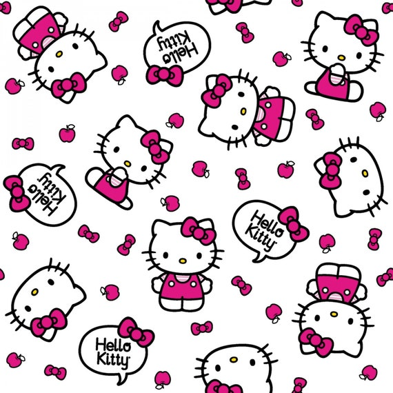 Sanrio  HELLO  KITTY  PACKED  FACES  W//  RED  BOWS   Cotton  Fabric  By the Yard