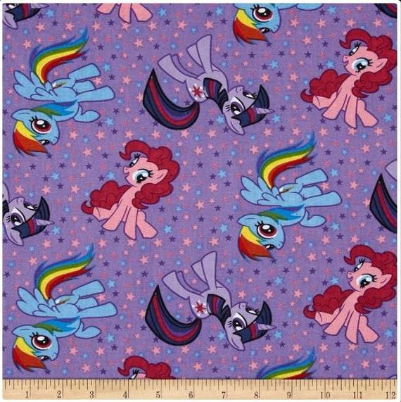 My Little Pony Best Friend Rainbow Dash Twilight Sparkle Pinkie Pie Cotton Fabric Yardage