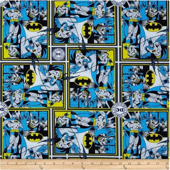 5 YARDS  BATMAN LOGO FABRIC SUPERHERO DC COMICS 100/% COTTON ROPE CAMELOT COTTONS