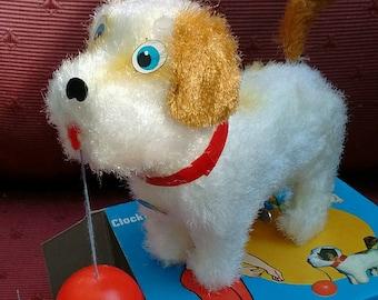 Vintage Cheerful Puppy Wind-up Clockwork New Mint w Box