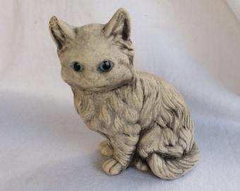 Vintage Cement Blue Eyed Kitty Cat Garden Figurine Statue