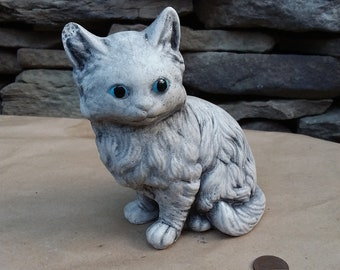Vintage Cat Garden Statue Cement Blue Eyed Kitty Cat Garden Figurine Statue