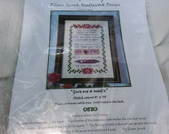 """Counted Cross Stitch Kit by Handblessings """"Give me a Needle"""" Eileen Gurak Needlework Design"""