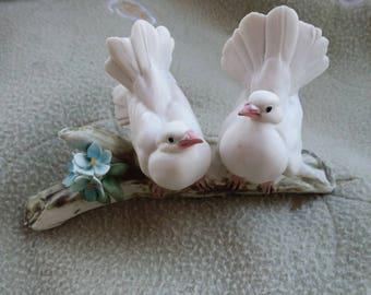 VINTAGE Porcelain White Doves Lovebirds, House of Goebel, Handpainted, Italy
