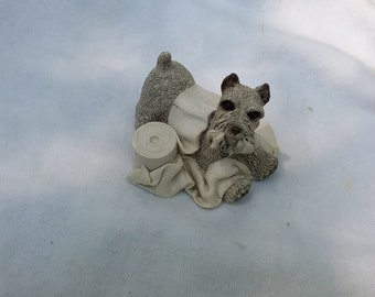 Vintage Stone Critters Schanuzer Dog Figurine, Playing with a Roll of Toilet Paper