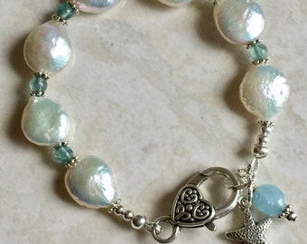 Coin pearl and apatite beaded bracelet with starfish charm