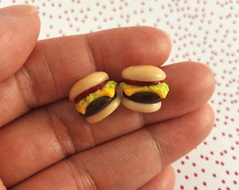 Cheeseburger Earrings, Cheeseburger Studs, Hypoallergenic Studs, Earring Set, Food Jewelry, Cute Food, Miniature Food, Food Earrings