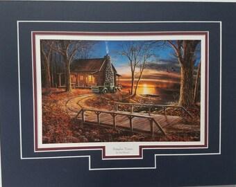 Jim Hansel End of the Road Cabin Lake Art Print Framed 19 x 15