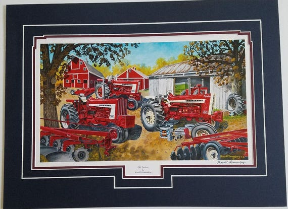 Russell Sonnenberg Farmall tractor art print titled Harvest Partners