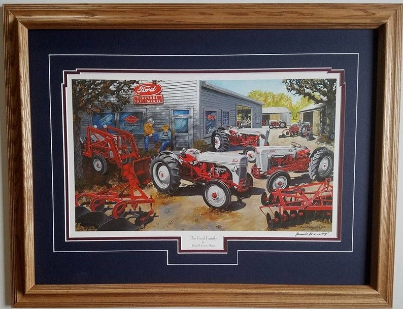 Framed 21 x 27 Ford 8N, 600 Jubilee Tracto Country Farm art print by  Russell Sonnenberg titled The Ford Family