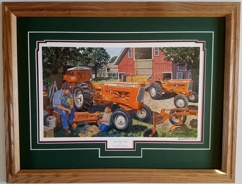 Framed 21 x 27 double matted Allis Chalmers D17, D19 Tractor art print by  Russell Sonnenberg titled Just Like Dads
