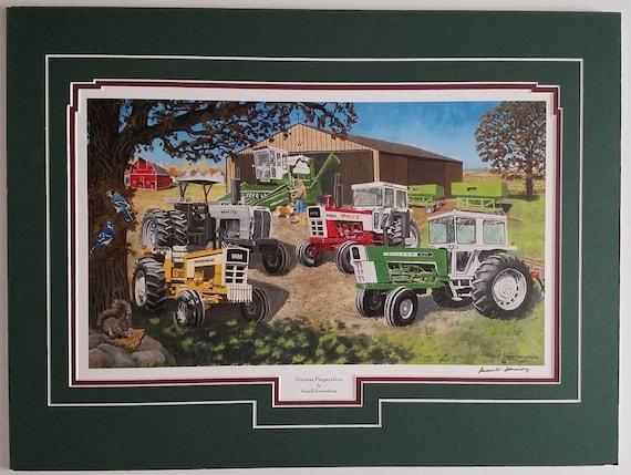 Russell Sonnenberg  farming John Deere tractor combine art print Harvest Lights