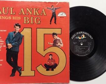 Vintage 1960 Vinyl Record Album by Paul Anka titled Paul Anka Sings His Big 15